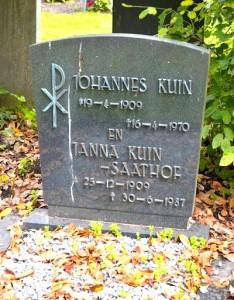 Johannes Kuin grafsteen en Janna