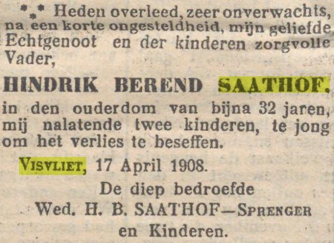 Overlijdensadvertentie H.B. Saathof Visvliet 1908